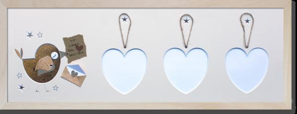 Rahmen kurz 700x230mm natur Vogel mit Herz
